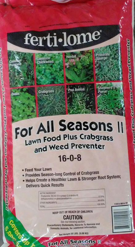20lb. Fertilome For All-Seasons-II-Lawn Food Plus Crabgrass and Weed Preventer